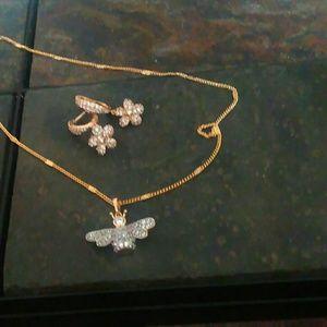 Bumblebee crystal necklace crystal flower earrings